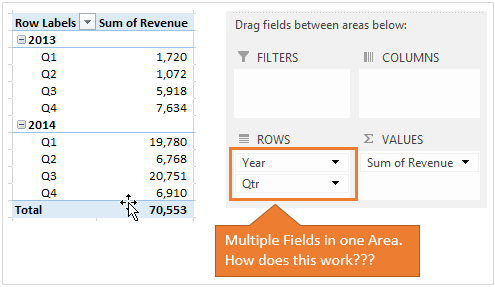 Multiple Fields in One Area of the Pivot Table