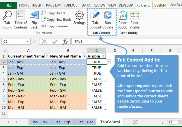 Quickly Hide and Unhide Multiple Sheets with Tab Control Add-in