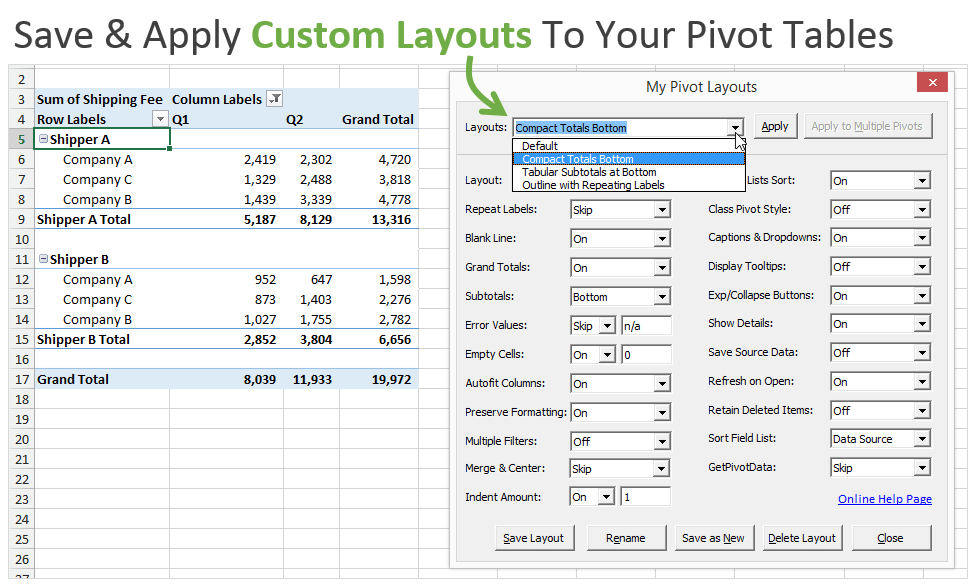 Custom Layouts for Your Pivot Tables - PivotPal
