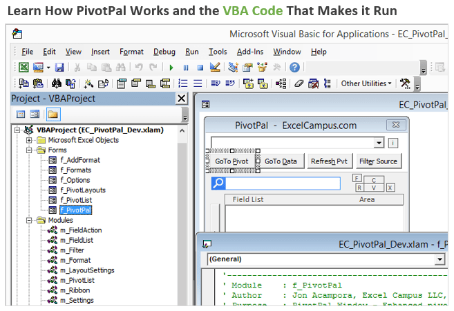 Learn How PivotPal Works and the VBA Code