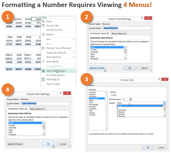 Pivot Table Menus for Number Formatting 4 Steps