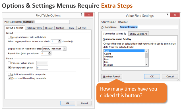 Pivot Table Options and Settings Menus