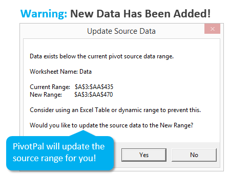 PivotPal Warning When Pivot Table Source Data Range Needs to be Extended