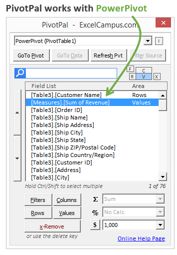 PivotPal with PowerPivot Data Model