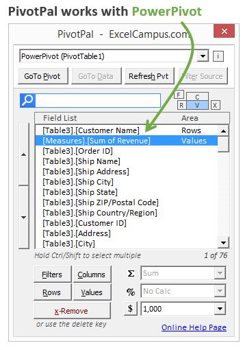 PivotPal with PowerPivot Data Model