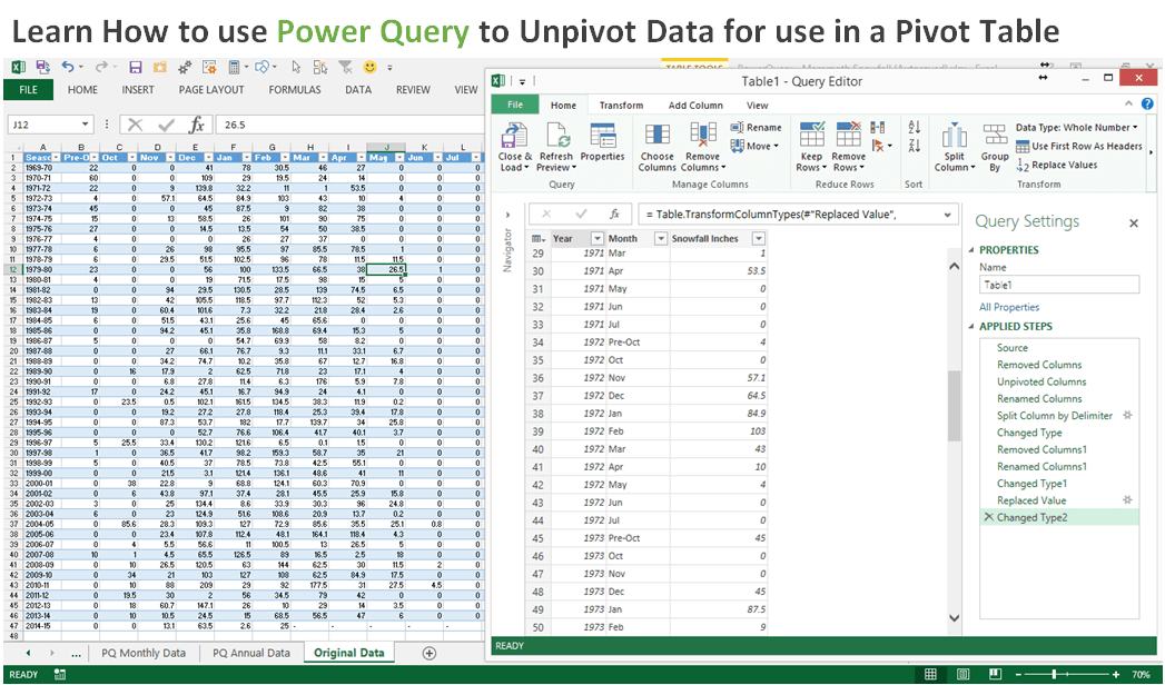 PowerQuery Unpivot Data for Pivot Table in Excel