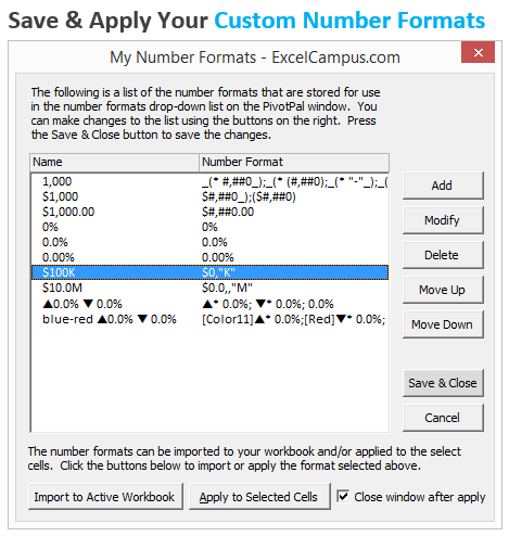 Save and Apply Custom Number Formats in Excel with PivotPal