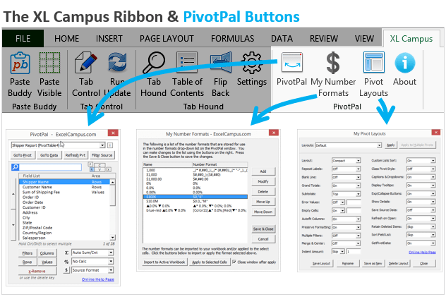 XL Campus Ribbon and PivotPal Buttons