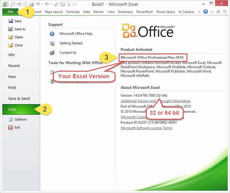 Excel 2010 Version and 32 or 64 bit