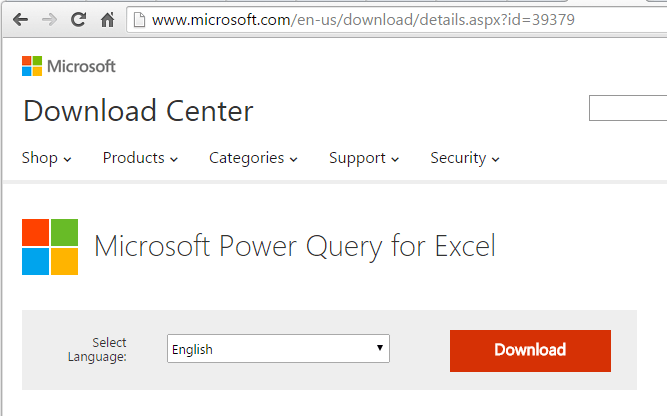 Power Query Download Page