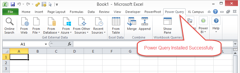 Power Query Tab of the Ribbon Excel 2010
