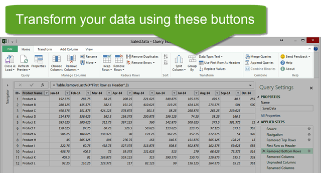 Power Query Editor Window Home Tab Transform Data with Buttons