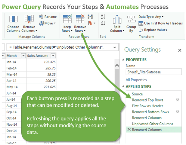 Power Query Records Applied Steps and Automates Processes