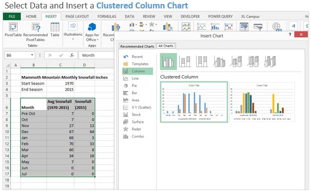 Insert Clustered Column Chart
