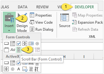 Insert the Scroll Bar Control in Excel