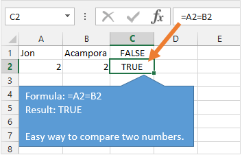 Compare Two Numbers in Excel with Equal Sign Comparison Operator