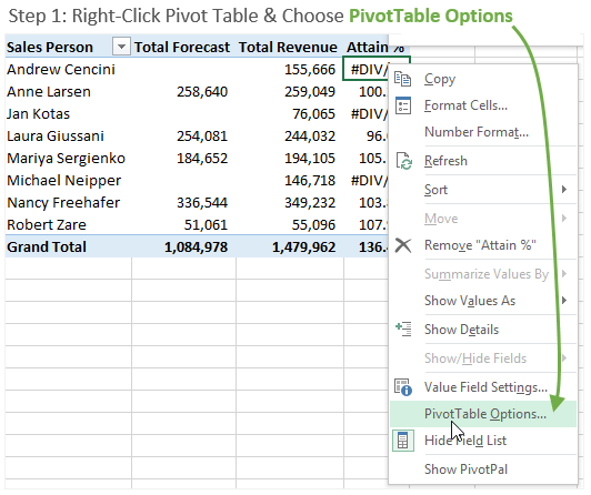 Step 1 Right Click Pivot Table Options Menu