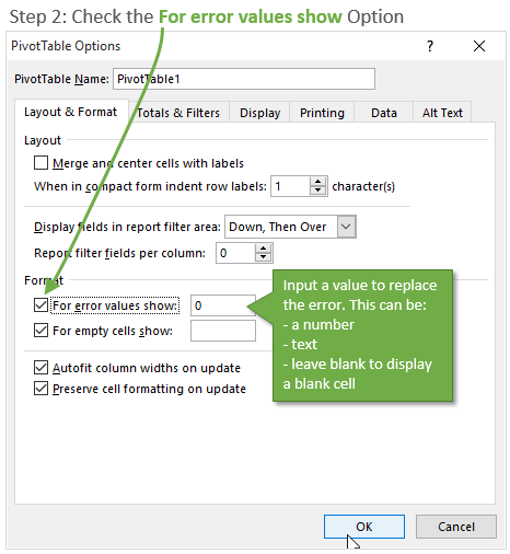 Step 2 For Error Values Show Check Box - Pivot Table Options