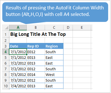 AutoFit Column Width Button Resizes Column Based on Selected Cell Contents