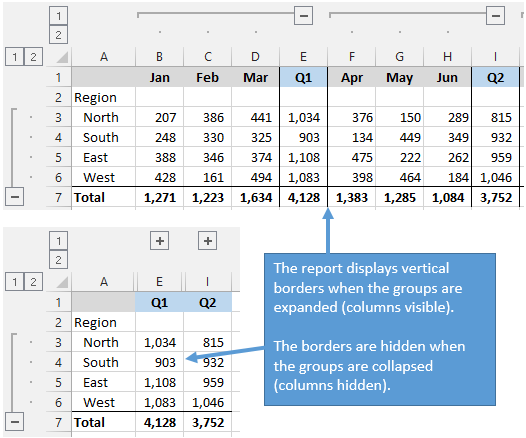 Cell Border Rules Can Be Used For Nicer Looking Reports to Hide Borders