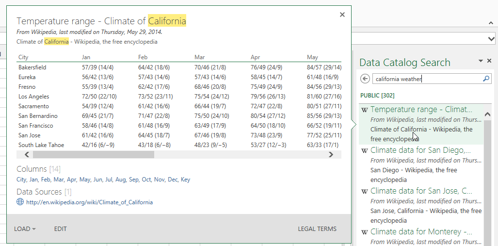 Data Catalog Includes Online Search in Power Query