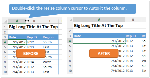 Double-Click Resize Column Cursor to Autofit Column