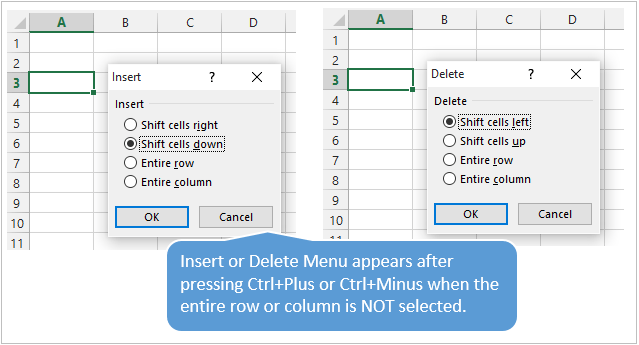 Insert or Delete Menu Appears When Entire Row or Column is Not Selected
