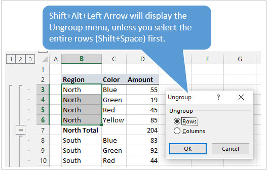 Keyboard Shortcut to Ungroup Rows or Columns in Excel