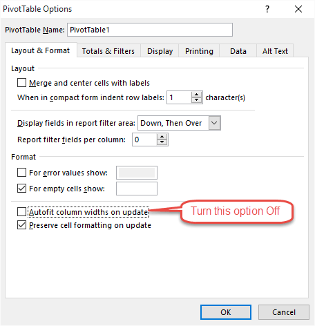 Pivot Table Options Autofit Column Widths
