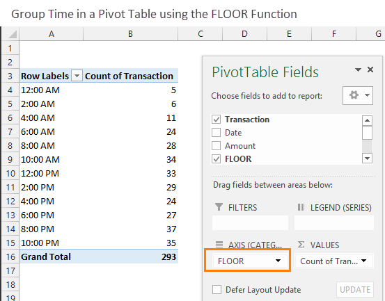 Group Times in a Pivot Table with the FLOOR Function