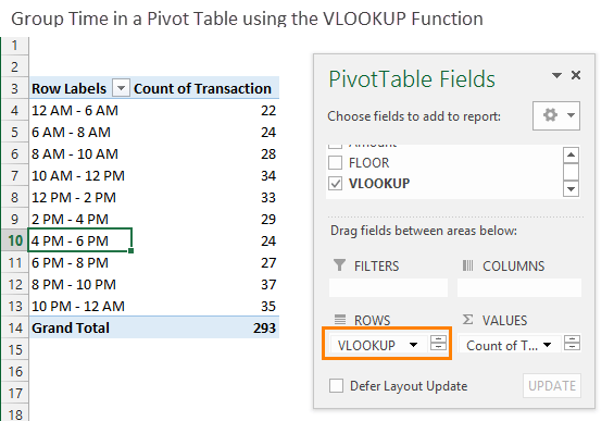 Group Times in a Pivot Table with the VLOOKUP Function