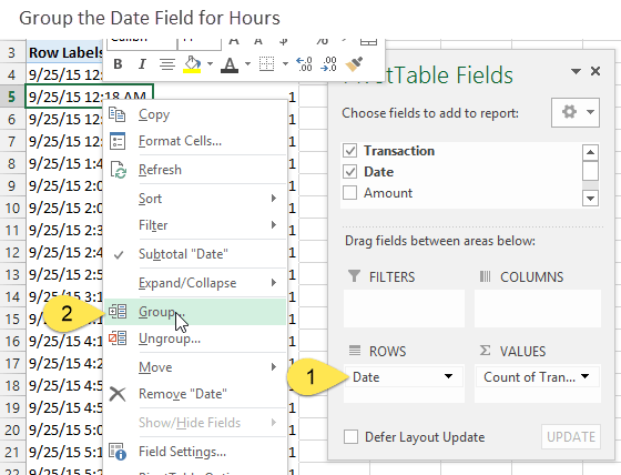 Group the Date Field for Time