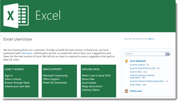 Excel User Voice Web Page 615