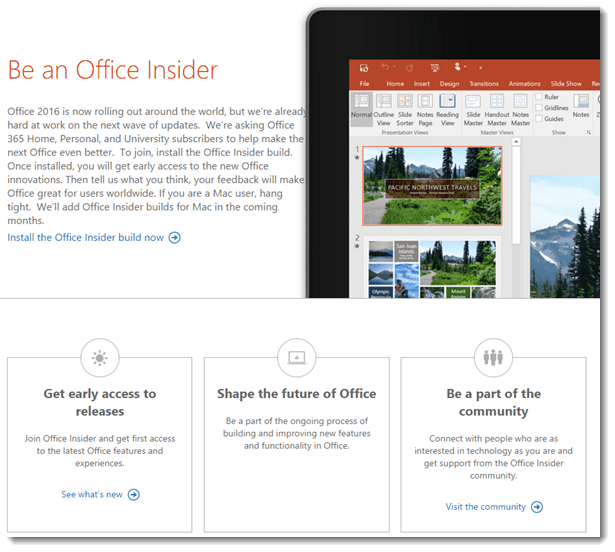 Office Insider Program Web Page
