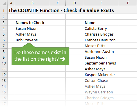 COUNTIF Function Explained - Do Names Exist in a List or Range