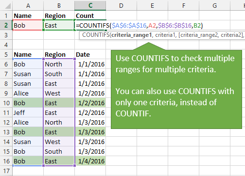 COUNTIFS Function to Check if Multiple Criteria Exist in Ranges