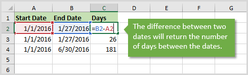 Calculate the Difference Between Two Dates in Excel - Returns Number of Days