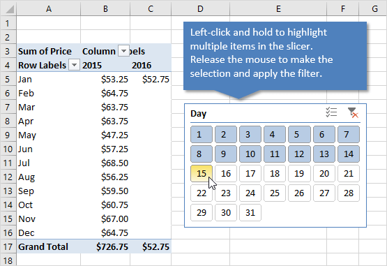 How to Select Multiple Items in an Excel Slicer