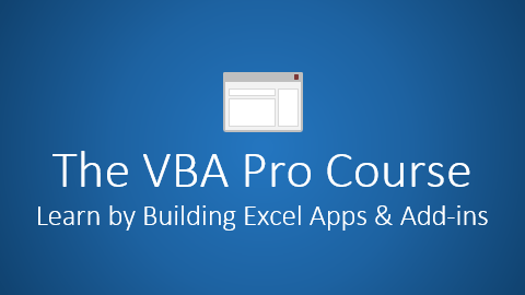The VBA Pro Course Cover - Learn by Building Apps