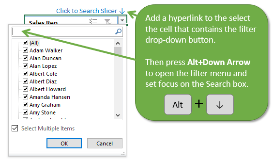 Add Hyperlink to Filter Cell and press Alt Down Arrow Keyboard Shortcut to Search