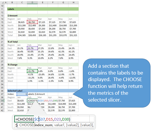 Add a Section for the Selected Label with the CHOOSE function