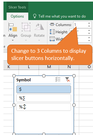 Change Options in Slicer to 3 Columns for Horizontal Layout