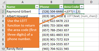 LEFT Function to return Area Code from Phone Number