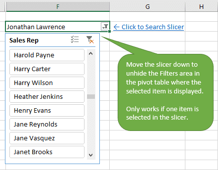 Move Slicer Below Filter Cell to Display Selected Item