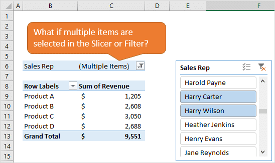 Multiple Items Selected in Slicer or Filter of Pivot Table