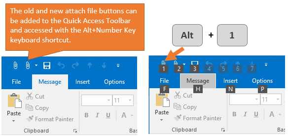 Attach File Keyboard Shortcut for Outlook with Quick Access Toolbar QAT