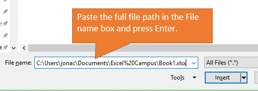 Attach a File by Pasting the Full File Path in the File name box, then hit Enter