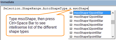 Change Shape Type with VBA Immediate Window AutoShapeType