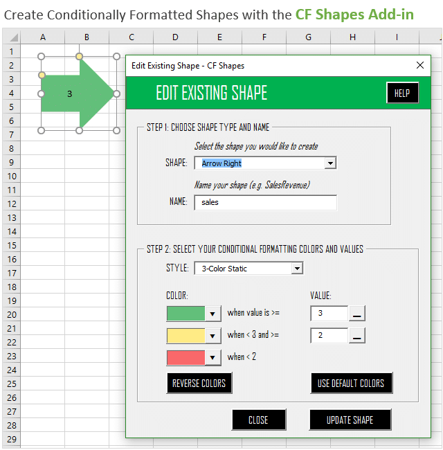 Create Conditionall Formatted Shapes with the CF Shapes Add-in