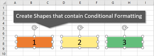 Create Shapes that Contain Conditional Formatting in Excel